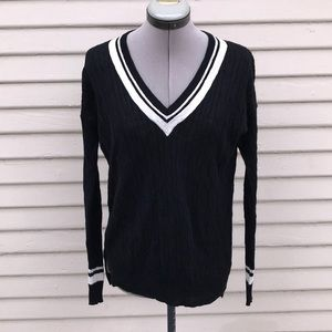 madewell thin knit linen blk white pull over sz Xs